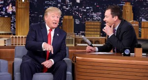 "In this image released by NBC, Republican presidential candidate Donald Trump, left, appears with host Jimmy Fallon during a taping of ""The Tonight Show Starring Jimmy Fallon,"" on Friday, Sept. 11, 2015, in New York. (Douglas Gorenstein/NBC via AP)"