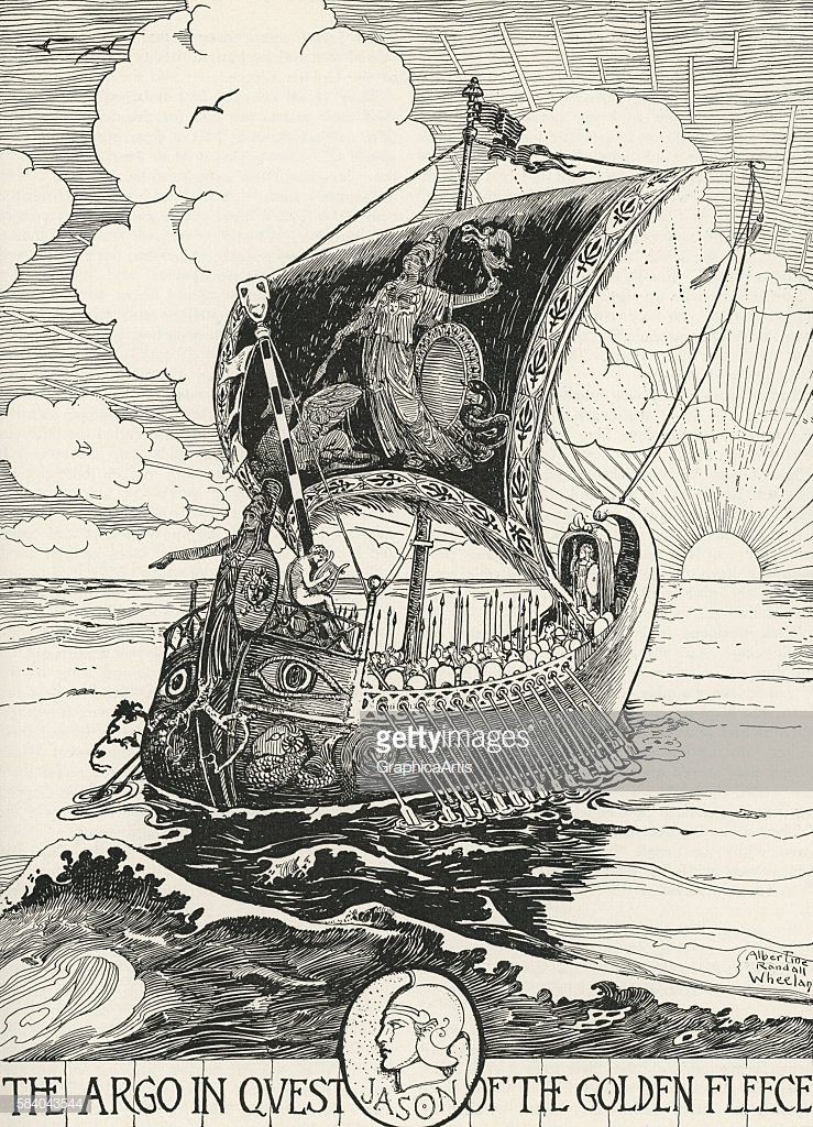 Illustration of Jason and the Argonauts rowing the Argo on their quest for the Golden Fleece (by Albertine Randall Wheelan, American, 1863 - 1954), 1918. Engraving. (Photo by GraphicaArtis/Getty Images)
