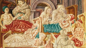 Franciscan monks treating victims of the plague in Italy