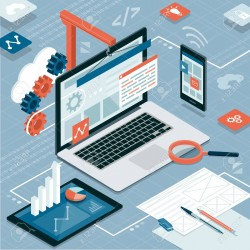 Web design, development and information technology: laptop, smartphone and tablet on an isometric desktop